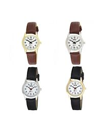 Ravel Ladies Gilt Day/Date Faux Leather Strap Watch R0706L