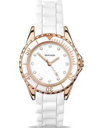 Sekonda Women's Fashion White & Rose Gold Rubber Strap Watch 4742