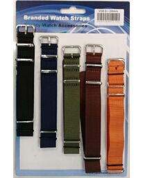 Nato style fabric watch strap 5pk assorted plain colours V18 Available Sizes 18mm - 24mm