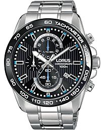 Lorus Men's 45mm Steel Bracelet & Case Quartz Black Dial Analog Watch RM377CX9