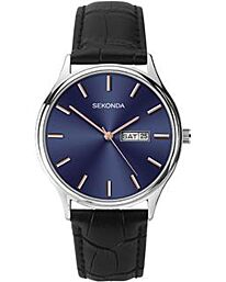 Sekonda Men's Blue face day/date Black Leather Strap Watch 1701