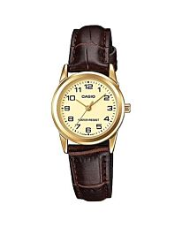 Casio Women's Fashion Designer Gold Dial Brown Leather Strap Watch LTP-V001GL-9BUGF