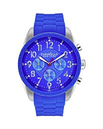 Caravelle New York Men's Bruce Chronograph Blue Dial Rubber Strap Watch 43A121