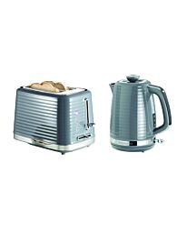 Daewoo Hive 1.7L Kettle & 2 Slice Toaster Grey Textured Combo Set