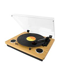 Global Gizmos Wooden Bluetooth Turntable with Built-In Speakers and MP3 Transfer