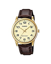 Casio Men's Fashion Designer Gold Dial Brown Leather Strap Watch MTP-V001GL-9BUDF