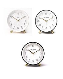 5377 WM WIDDOP Round Alarm Clock with Gold Metal Legs Available Multiple Colour