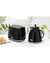 Daewoo Argyle Black Kettle Toaster Set