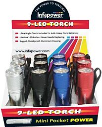 Infapower 9-LED Torch Ultra Bright Shockproof Aluminium (Pack of 12)