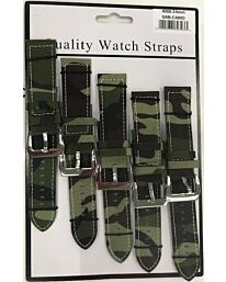 4006 CAMO GREEN WATCH STRAPS PK5 AVAILABLE SIZES 20MM - 24MM