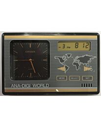 LPB9515A CITIZEN ANALOGUE-DIGITAL WORLD TIME ALARM CLOCK BLACK/GOLD