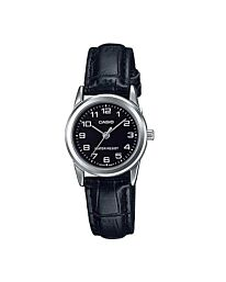 Casio Women's Black Dial Leather Strap Watch LTP-V001L-1BUDF