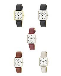 Ravel Women's White Face Rectangular Fashion Watch R0139 Available Multiple Colour