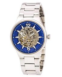 Caravelle Men's Automatic Blue & Silver Skeleton Dial Stainless Steel Bracelet Watch 43A135