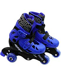 Elektra Tri Line Adjustable rolling skates Boots 3 Wheels Blue 9J-12J