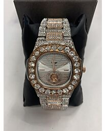 PI-7644 NY LONDON GENTS BLING WATCH SILVER.ROSE