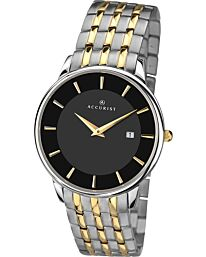 Accurist Men's Classic Black Dial Two Tone Bracelet Wristwatch 7261