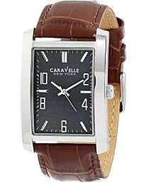 Caravelle New York Men's Quartz Watch with Brown Leather strap 43A119