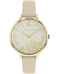 Sara Miller Leaf Collection Gold Plated Beige Leather Strap Watch SA2028
