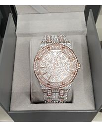 PI-7641 NY LONDON GENTS BLING WATCH ROSE-SILVER
