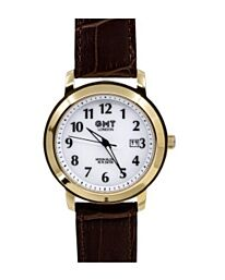 GMT LONDON MOON GLOW 50m Gents Watch gilt case / brown leather strap GG0007-02