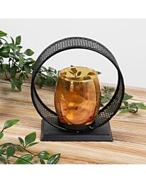 Hestia Round Black Metal Gold Glass Candle Holder HE1071