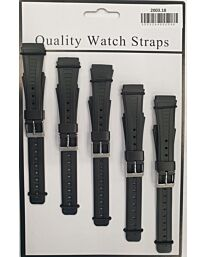 2003 5PK BLACK PU WATCH STRAPS Available Sizes 12mm to 22mm