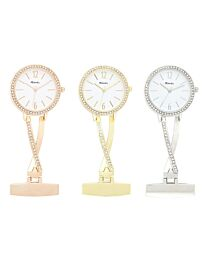 Ravel FOB Nurses Criss Cross Watch Silver/Gold/Rose Gold R1106
