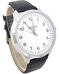 Reflex Gents watch Black Leather Strap White Dial REF0032