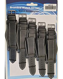 Leather Black Military Watch Straps Pk5 Available Sizes 18 – 24mm 1007BK