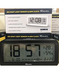 Ravel Big Digit Light Sensor Alarm Clock Black RCD005.3