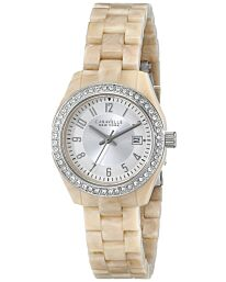 Caravelle New York Women's Crystal Date Ivory Plastic 28mm Watch 43M109