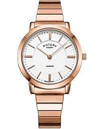 Rotary Womens London Rose Gold Steel Expanding Bracelet Watch LB00767/02