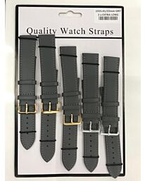 1555.03 2X EXTRA LONG GREY LEATHER WATCH STRAPS PK5 AVAILABLE SIZES 18MM - 22MM