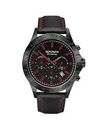 Sekonda Men's black leather red stitch strap Watch 1652