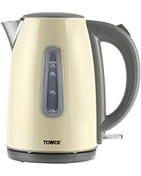 Tower T10015C Infinity Rapid Boil Jug Kettle with Boil Dry Protection, Automatic Shut Off, Removable Washable Filter, 3000 W, 1.7 Litre, Cream