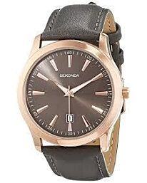 Sekonda Gents Rose Gold Case Dated Leather strap Watch 1727