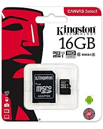 Kingston Canvas Select MicroSD (SD Adapter Included)- 16GB