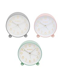 5175 WILLIAM WIDDOP® METAL ALARM CLOCK WITH GOLD DIAL AVAILABLE MULTIPLE COLOUR