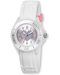 Tikkers Girls White Rubber/Silicone Strap Watch with Glitter LOVE Heart Design TK0034
