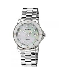 Ladies Accurist Stainless Steel Ceramic White Bezel Sports Watch LB1781