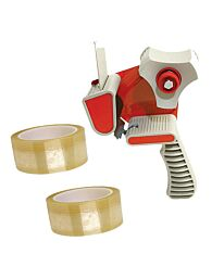 Stikky 48mm x 66m Packing 2 Sticky Tape Clear with Tape Gun Dispenser