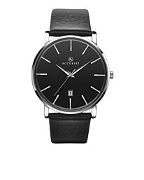Accurist Men's Fashion Black Leather Strap Dated Watch 7124