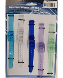 PU Watch straps 5pk Assorted transulcent colours 231 14mm