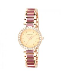 Henley Ladies Rose Gold Plated Burgundy Bracelet Watch H07280.10