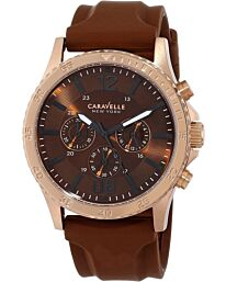 Caravelle New York Men's Chronograph Brown Silicon Rubber Strap Watch 44A102
