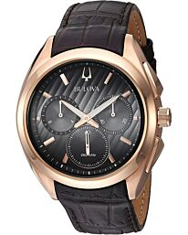 Bulova Men's Curv Collection Leather Strap Watch 97A124