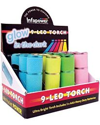 Infapower 9-LED Torch Glow in the dark (Pack of 12)