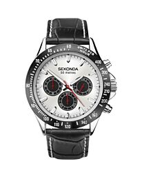 Sekonda Mens Dual Time Chrono Silver Dial Black Leather 1647