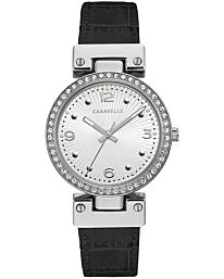 Caravelle Women's Analog Quartz Watch with Leather-Crocodile Strap 43L208